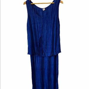 Cobalt Blue Tiered Cotton Midi Tank Dress XXL